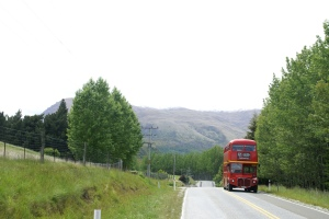 Yes, your eyes do not deceive. A London Routemaster spied on the road from Queenstown to Arrowtown.