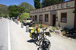 The legendary Cardrona Hotel, straight out of the Wild West, ca. 1870, on the road down from Crown Range to Wanaka.