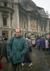 Outside the National Library in Bucharest, a couple of days after it went up in flames at Christmas 1989.