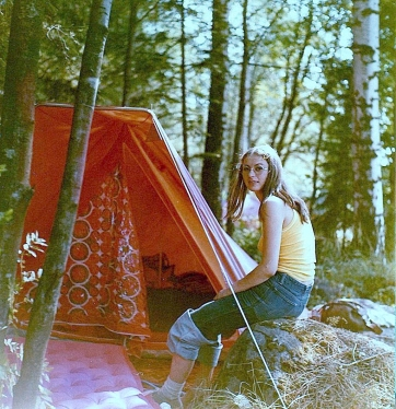 Jutta Hartung as she was then on holiday camp during her time working 1972-74 at the West Germany embassy in Moscow.