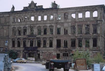 The ruins of Dresden, awaiting repair in 1990 in the immediate aftermath of German reunification.