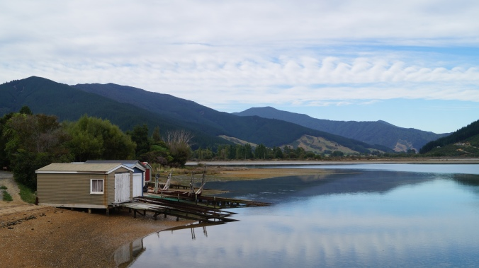 Boat houses near Anakiwa on Queen Charlotte Sound