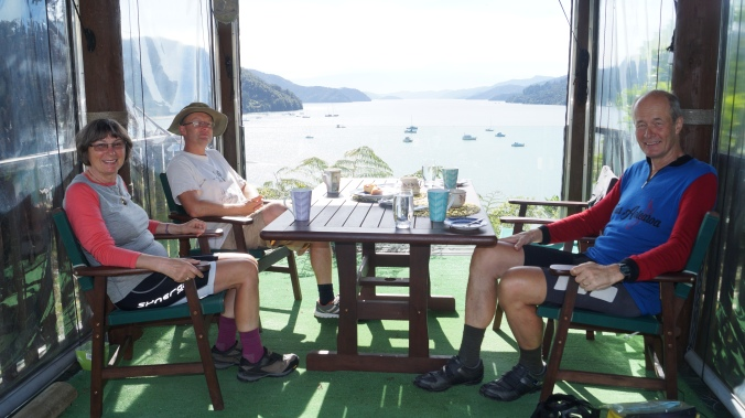 What a view! Certainly beats Swindon, whence Lesley and Andy Pincombe moved nearly a decade ago to here overlooking Queen Charlotte Sound just West of Picton in NZ.