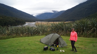 The sandflies, the sandflies. Fabulous view of Cameron Flat, and a lovely overnight in a Dept of Conservation camp site,. But we were GLAD to get away from being eaten alive.