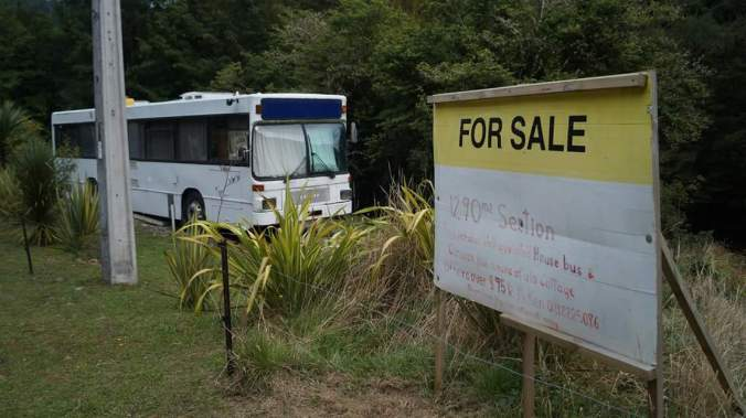 For sale, well-appointed house bus. With Section (Kiwi for a plot of land) and a derelict cottage attached...