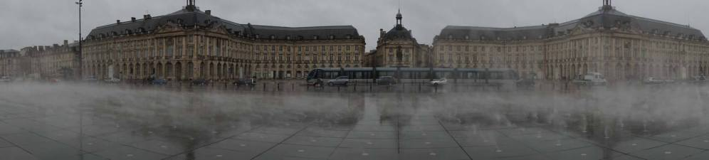All tourists take this pic of Bordeaux, with a clever reflecting mirror pool with added steam vents to show off the municipal buildings at their best. It POURED in Bordeaux, but well-timed.