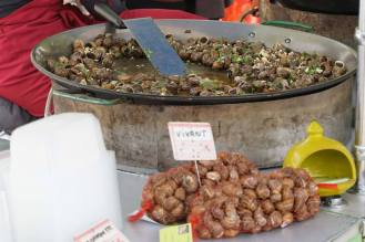 Couldn't resist. Snails for sale, alive-alive-oh, at Saurat flower market in the Pyrenees
