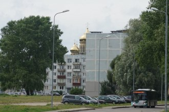 Orthodox church looms over Soviet-era apartment blocks (still peopled mainly by Russians) in Karosta just north of Liepaya., once home to the Russian and then Soviet navy. Latter left here in 1994, our guidebook tells us, 20,000 sailors, 30 atom-powered submarines, and 140 warships. And a right mess.