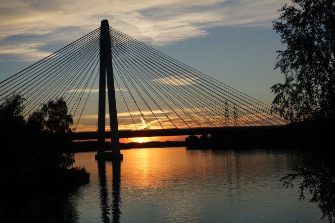 Danube sunset with bridge.